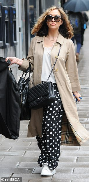Fab: Myleene, 42, stood out in her black and white polka dot wide leg pants which she teamed with a white lace-trimmed t-shirt