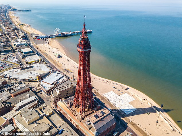 Co-author Professor Gerd Masselink, of the University of Plymouth's coastal processes research group, said Blackpool (pictured) and Bournemouth beaches could be lost as they are sandwiched between the water and a wall built as a sea defence