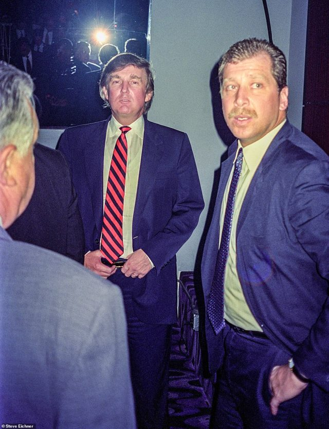 A-listers: Donald Trump was a regular on the VIP balcony of Club USA in New York City. He's pictured in 1994. The author writes of businessman Trump, 'He loved to get his picture taken. Anytime I would ask for a picture and he would stop whatever he was doing and pose for a picture'
