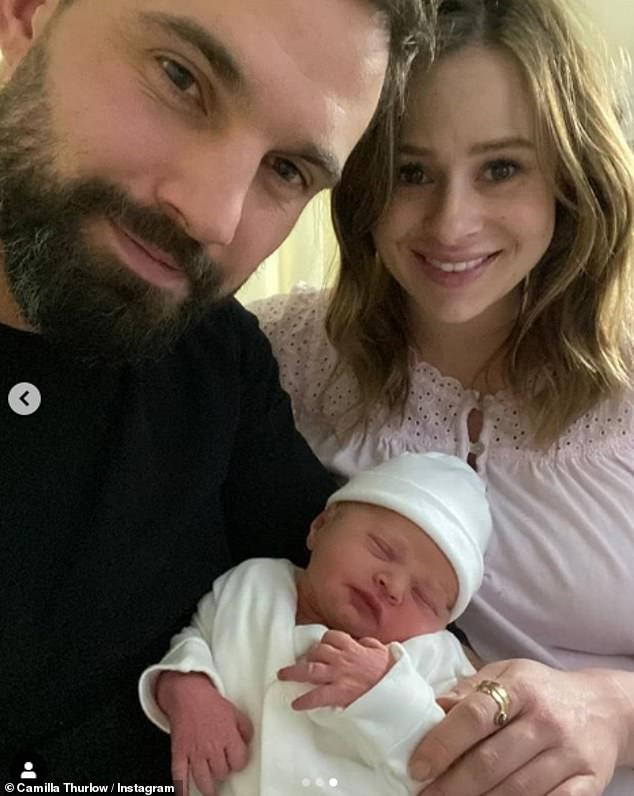 Proud new parents: The pair announced the birth of Nell on Instagram last Tuesday. Alongside a series of cute snaps, she penned: 'Nell Sophia Jewitt | 4:32am 27th October 6lb 5oz'