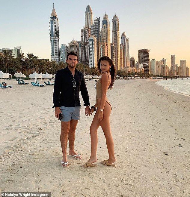 Young love: Jess's sister, model and Instagram influence Natalya Wright, 20 (pictured), also makes the most of her Dubai getaway with her boyfriend
