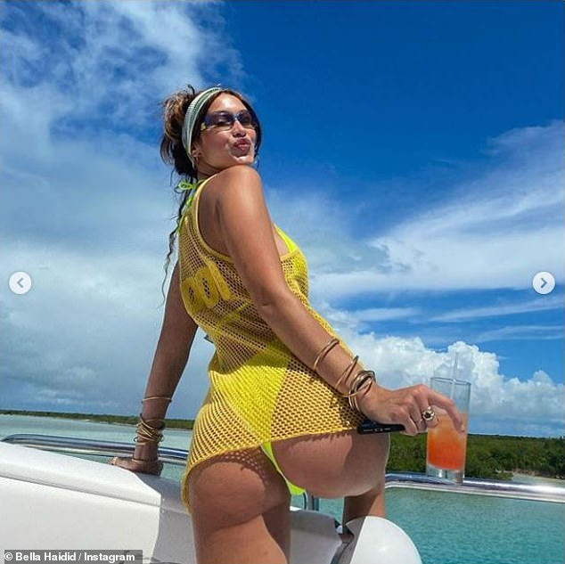 Cheeky: Bella posed a storm on her birthday vacation in the Turks and Caicos Islands surrounded by her closest friends;  photographed October 15