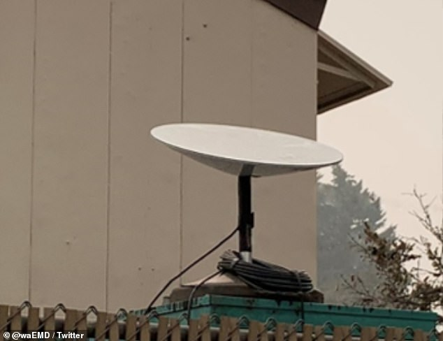 Customers will have to pay nearly $600 upfront to receive access, which includes the $99 monthly fee plus $499 to order the Starlink Kit that includes the 'UFO on a stick' terminal (pictured), mounting tripod and WiFi router