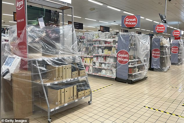 Stock covered in plastic sheeting at a Sainsbury's store in Cardiff, Wales on October 27