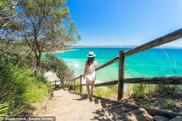 The popular coastal town (Wategos Beach pictured) where Chris Hemsworth and Zac Efron have chosen to settle has been sizzling, with data from online real estate showing a 29.6 per cent annual surge in September