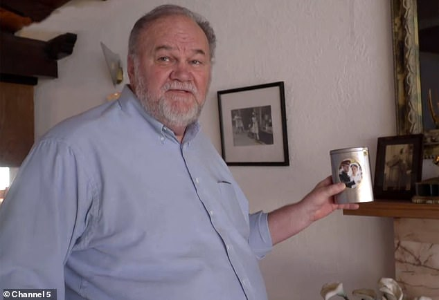 Thomas Markle shows off a memento he keeps on Harry and Meghan's fireplace from their wedding he was unable to attend, during his Channel 5 documentary in January this year