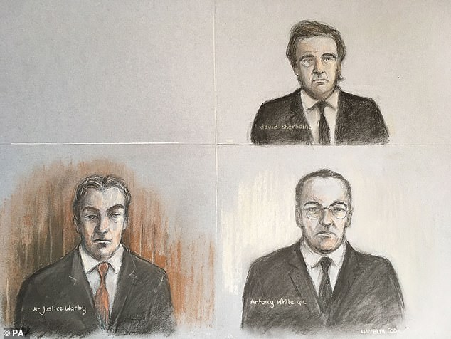 An artist's sketch of the court of Mr. Justice Warby (bottom left) Antony White QC (bottom right), for LNA and Meghan's attorney, David Sherborne, in a virtual hearing at the High Court on April 24