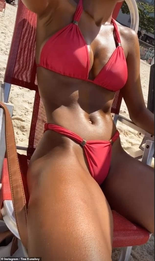 Working it: The catwalk queen, 23, who resides in the Brazilian city for part of the year, highlighted her incredible figure in a red bikini