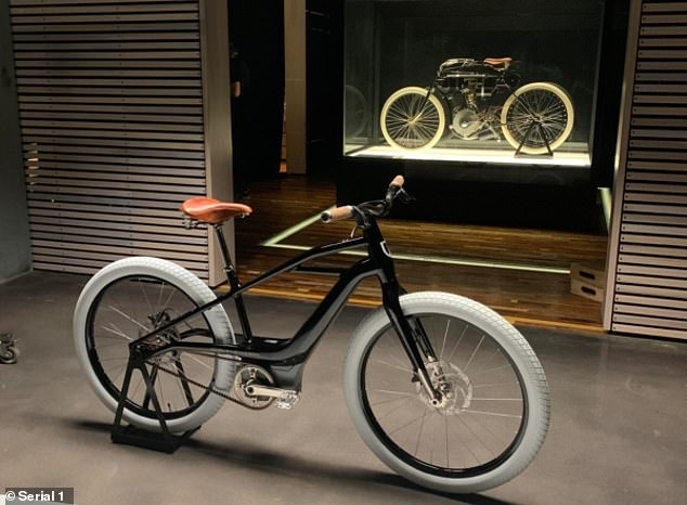 Harley Davidson's original 1903 motorcycle (in background) and new Serial 1 bicycle. The e-bike company will be spun off into a separate business, with the first commercial models expected in March 2021