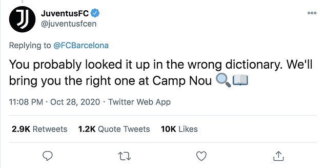 The two European clubs exchanged messages on Twitter after Barca beat Juve 2-0 in Turin