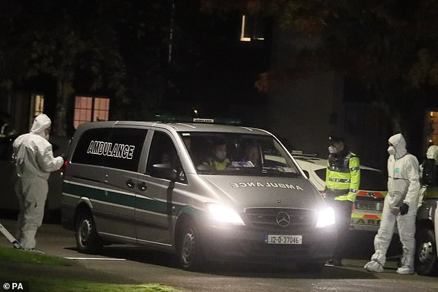 A private ambulance leaving the scene at the Llewellyn estate in Ballinteer, south Dublin, after the bodies of a woman and two young children were discovered. Gardaí was called to the house on Llewellyn Court in Rathfarnham earlier this year after the man allegedly hit the woman in serious disorder