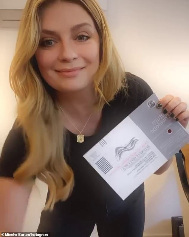 Good job: Last week, The O.C. star shared her excitement as she flashed her ballot on Instagram before heading to one of the many official drop boxes around Los Angeles County