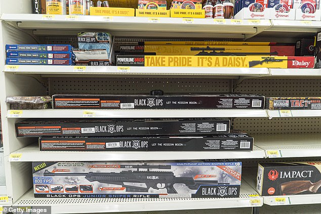 Walmart says it has removed ammunition and firearms from displays at U.S. stores, citing 'civil unrest' in some areas. The nation's largest retailer, based in Bentonville, Arkansas, sell firearms in about half of its 4,700 store (stock image)