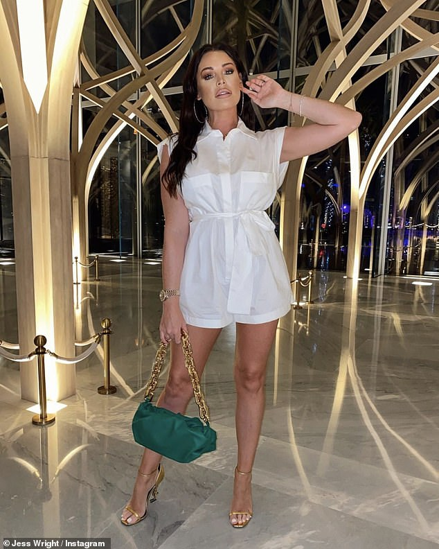 Beauty: Jess took a much-needed break from wedding planning as she and her mom Carol joined younger sister Natalya, 20, for some winter sunshine in Dubai