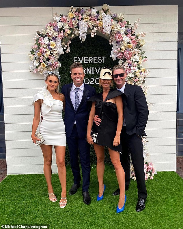 First public event: The couple recently attended their first official outing together at the Everest Cup Racing Carnival, where they looked very smitten. Pictured left is Michael and Pip with friends