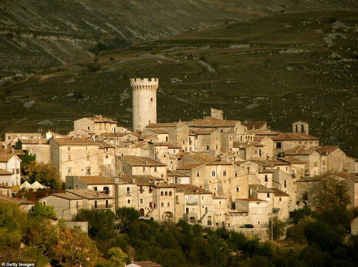 Village of Saint Stephen of Sessanio, Italy,which perches 1,250 meters above sea level within the beautiful Gran Sasso e Monti della Laga national park