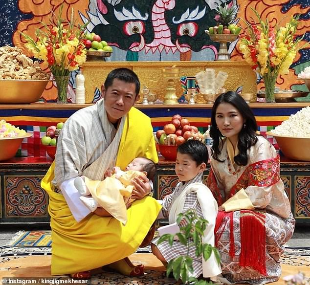 In March, the happy couple's siblings, King Jigme Khesar and Queen Jetsun Pema welcomed their second sond Jigme Ugyen (pictured with their newborn son and the four-year-old prince Jigme Namgyel