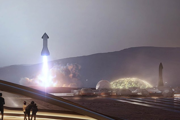 Dubbed 'Governing Laws,' the section states SpaceX will not abide by international laws beyond Earth and the moon, but instead adopt self-governing principles 'established on good faith.' Pictured is a concept image of SpaceX's city on Mars
