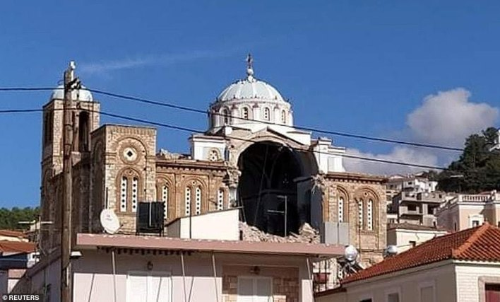 A Greek Orthodox church was damaged in the town of Karlovasi after the island of Samos was hit by today's earthquake