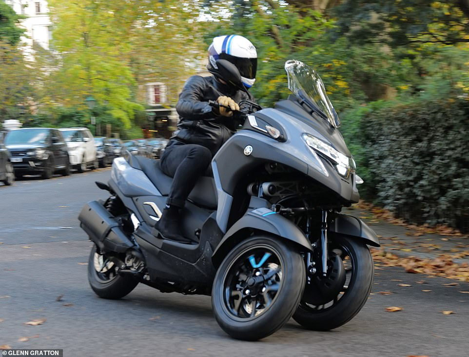 Covid commuter: This is the Yamaha Tricity 300 - a £7,500 three-wheeled scooter than might be the answer to safe transport during the pandemic