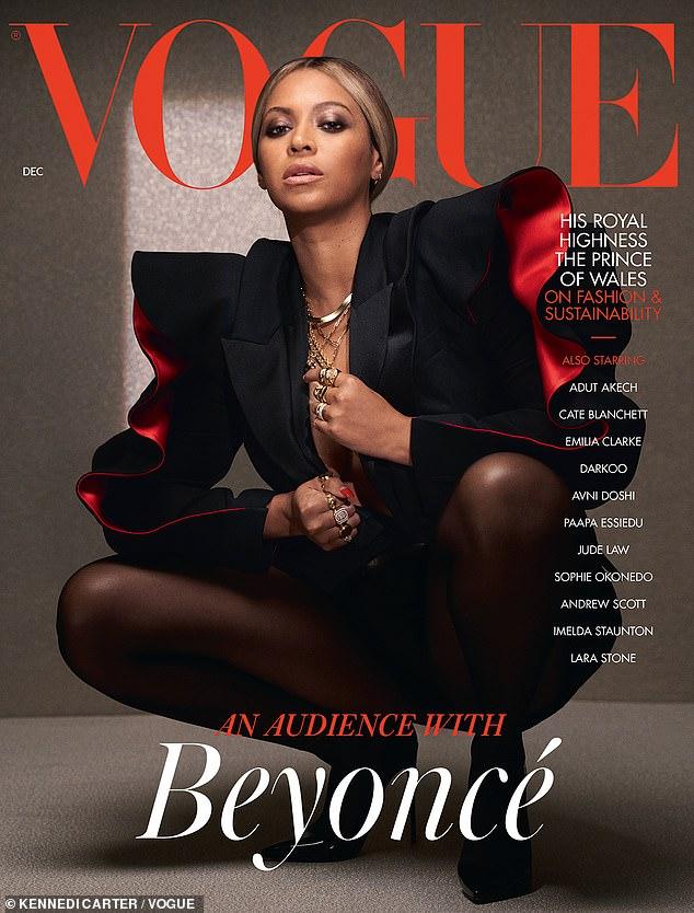 Sophistiqué: Pour la couverture finale, Beyonce respire la sophistication dans une veste de soirée Alexander McQueen avec des détails à volants rouges sur les côtés et une paire de collants