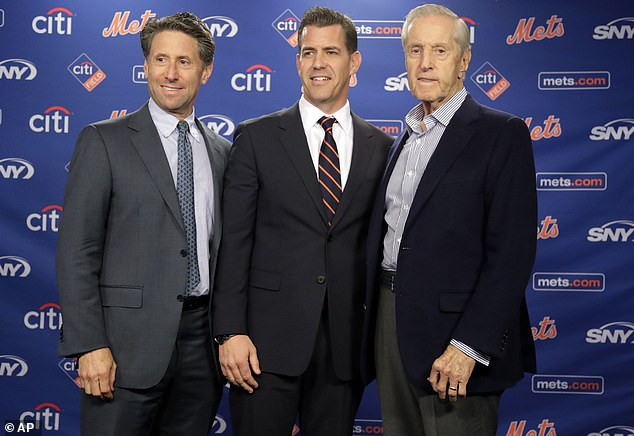 Outgoing New York Mets COO Jeff Wilpon (left), general manager Brodie Van Wagenen (center), and now-minority owner Fred Wilpon pose for a picture back in October of 2018