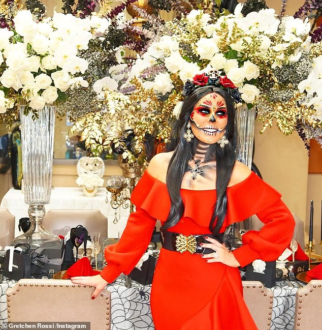 Spooky:Gretchen Rossi of RHOC fame had a Day Of The Dead look while at home; it was also her 42nd birthday party