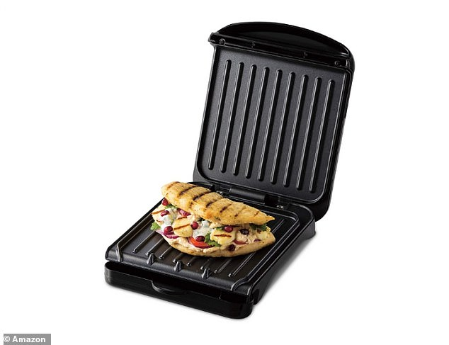 The grill has 160 per cent faster heat up than electric ovens and has a patented angled grill that channels grease away from your food