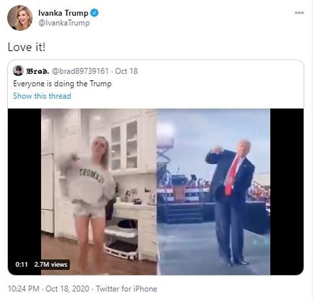 She is a fan! Even Ivanka Trump shared it on Twitter, writing:
