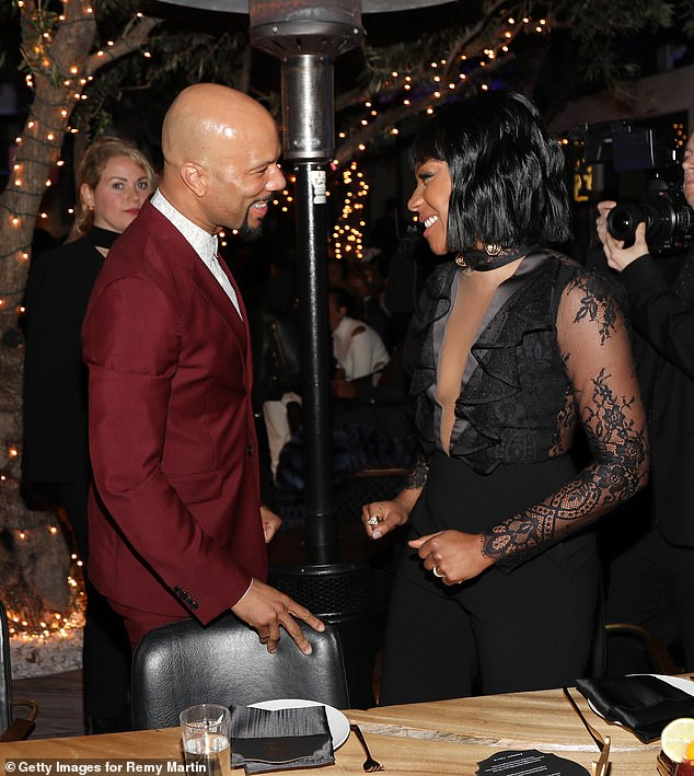 Complimentary: 'She's a wonderful woman, a queen, and just a beautiful person, man,' Common said on Live With Kelly And Ryan. 'You know, I just care for her a lot, enjoy her, and am grateful to have her in my life. I'm happy'; shown in 2018
