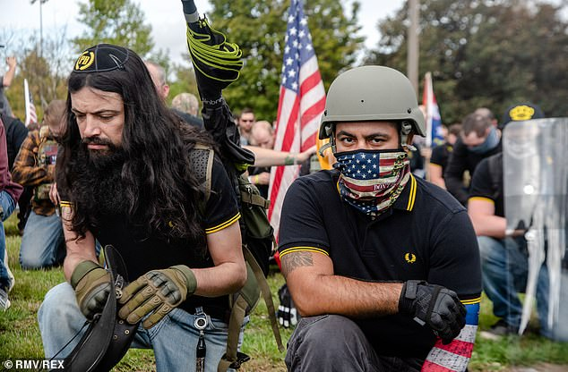 Proud Boys supporters gathered at Delta Park Vanport in Oregon on September 26