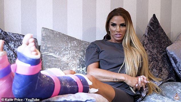 Candid: Katie Price shared gory snaps of her broken feet in a candid post shared on Saturday, after trolls accused her of getting BUNION surgery