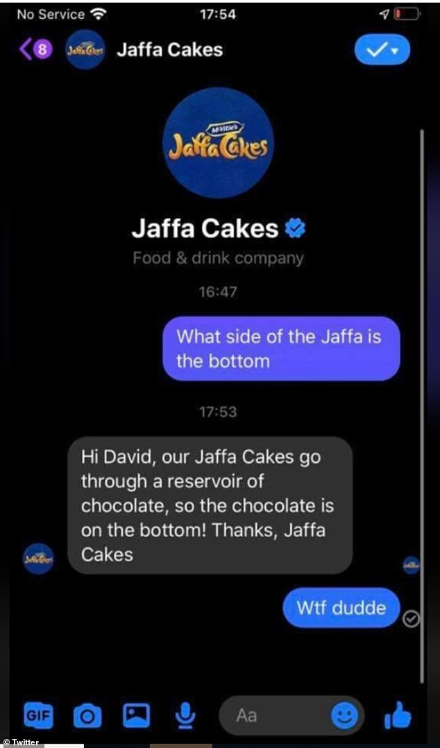In a screenshot of a Twitter conservation shared widely on UK Facebook groups, McVitie's appear to have confirmed that chocolate goes on the bottom of a Jaffa Cake