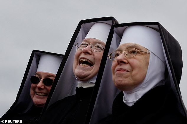Five nuns from theThe Dominican Sisters of the Immaculate Heart of Mary of Hartland, Michigan, on Friday attended President Trump's campaign rally in Waterford Township