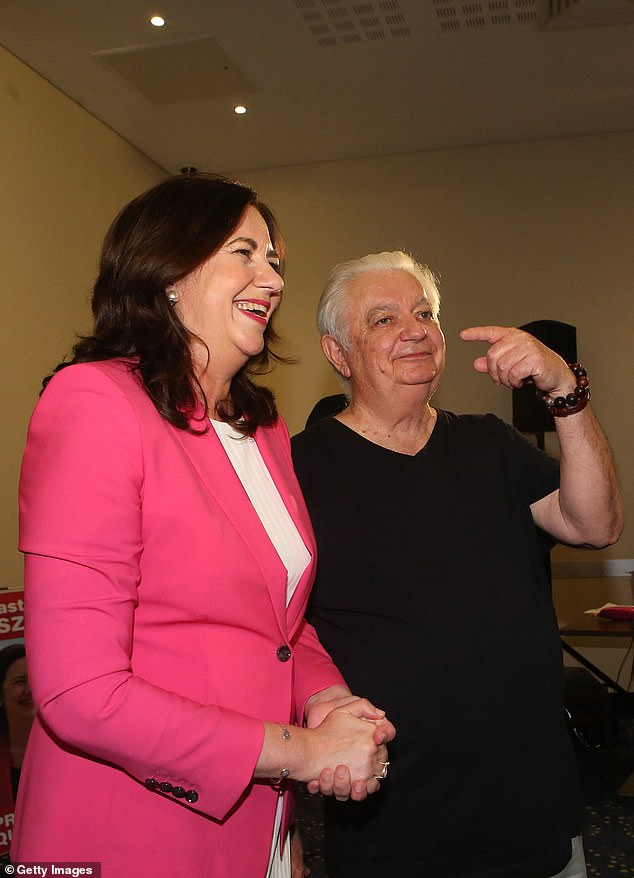 Mr Palaszczuk said his daughter (pictured together on Saturday) never deserved the nickname 'the accidental premier' after her shock win in the 2015 election