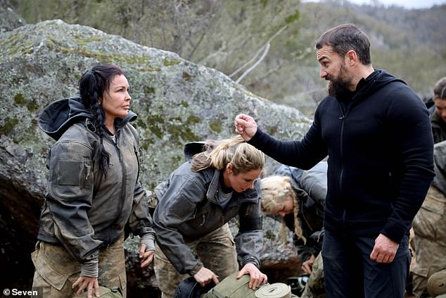 Challenge: Schapelle's 'weird' Halloween moment comes after she recently took part as a recruit on SAS Australia. Unfortunately, the course proved too demanding and she withdrew from the show in episode two. Pictured with the show's chief instructor, Ant Middleton