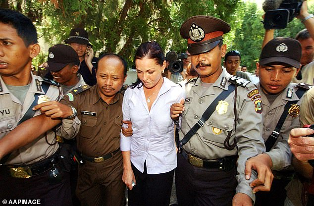 Conviction: In May 2005, she was sentenced to 20 years imprisonment and due to a series of sentence reductions having served nine years behind bars. She lived in Bali with family until she was deported back to Australia in May 2017. Pictured in 2005