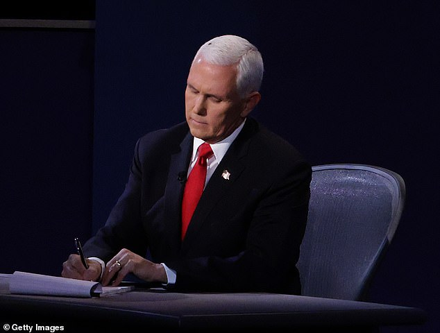 Meme central: Vice President Mike Pence became the source of many memes when a fly landed on head during the vice presidential debate (pictured)