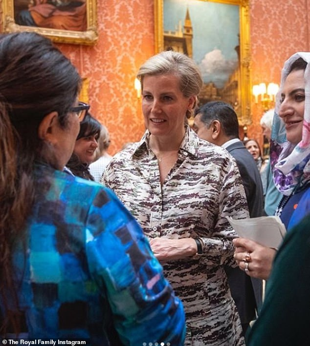 Sophie, 55, who is married to Prince Edward, 56, wrote an article for The Telegraph today saying 'there are no magic words when it comes to negotiating peace'. She is pictured meeting peacemakers before the pandemic
