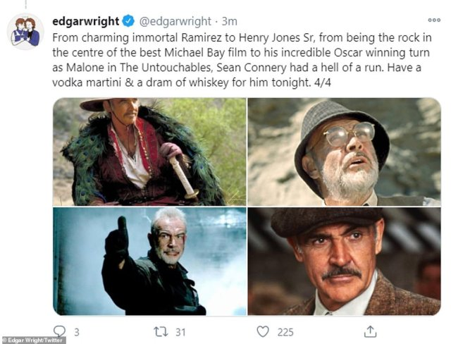 Candid: Director Edgar Wright also paid tribute to Connery, sharing a lengthy tribute that saw him reflect on the screen legend's career as a whole