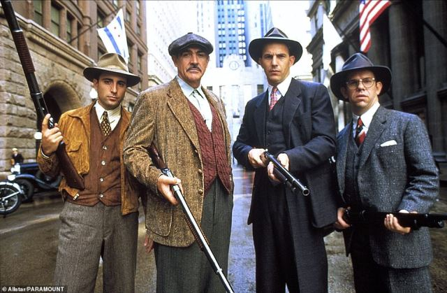 1987: Charles Martin Smith, Kevin Costner, Connery and Andy Garcia in the American crime film The Untouchables