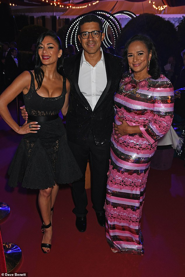 Nicole Scherzinger, Mr Dokolo and Mrs dos Santos attend the Party de Grisogono during the 71st annual Cannes Film Festival on May 15, 2018 at the Villa des Oliviers