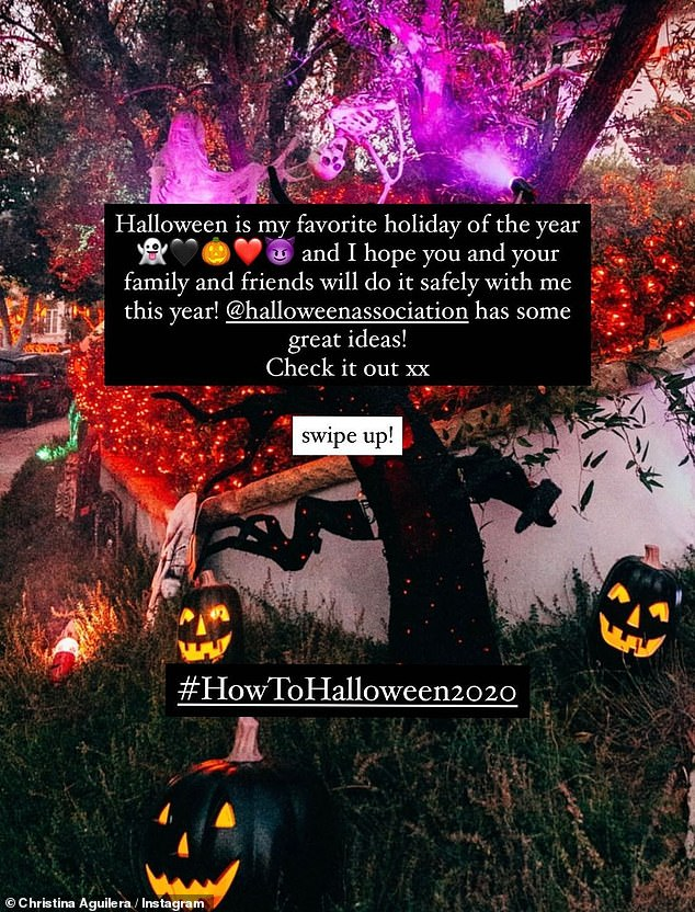 Halloween during COVID-19:Aguilera shared that Halloween is her favorite holiday of the year, 'and I hope you and you family and friends will do it safely with me this year!'