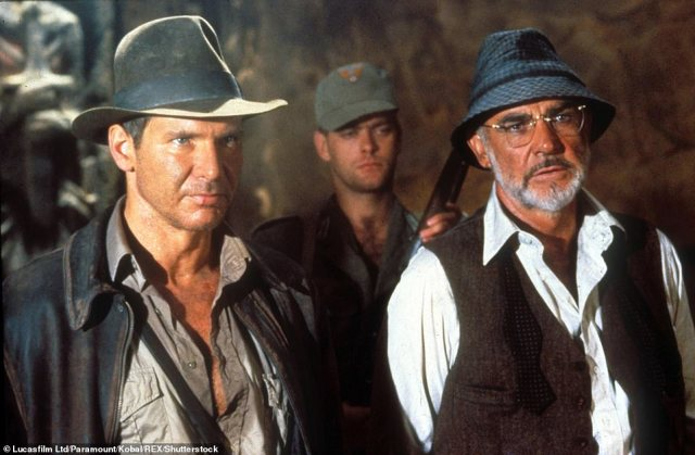 1989: Harrison Ford and Connery in Indiana Jones and the Last Crusade, which was directed by Steven Spielberg