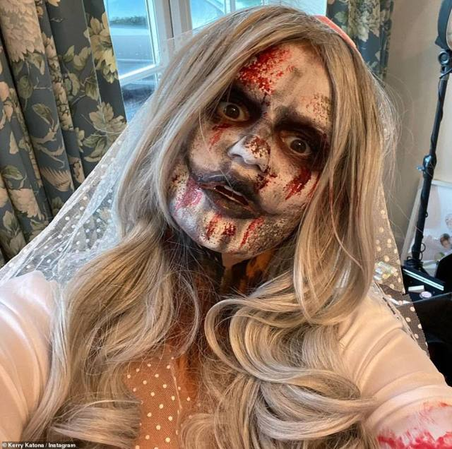 Bride of the dead:Kerry Katona, 40, also went all out of the occasion and sported an incredible zombie bride costume, sharing snaps of her impressive look on her Instagram page on the day