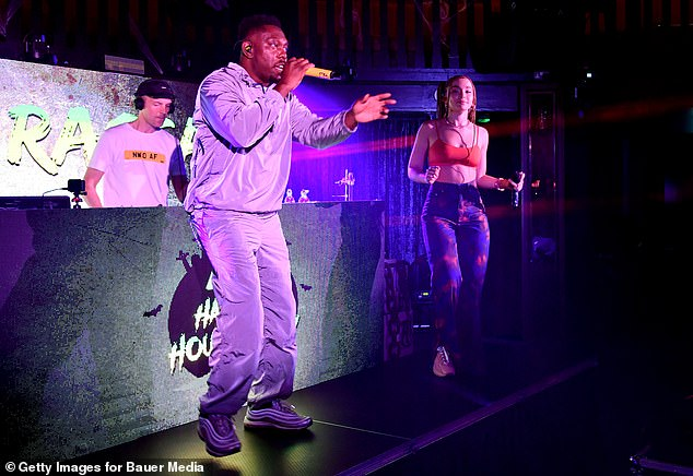 Keep it casual: Dizzee himself opted for comfort as well, donning a slouchy grey tracksuit and trainers for the occasion
