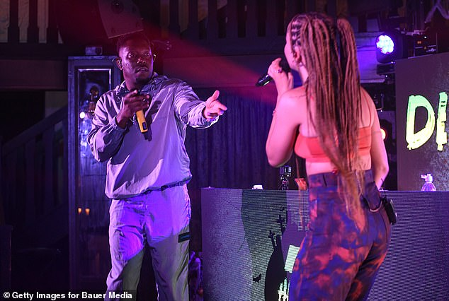 Dynamic duo: While at one point she was joined by rapper Dizzee, 36, on the stage, with the duo full of energy as they entertained their virtual audience