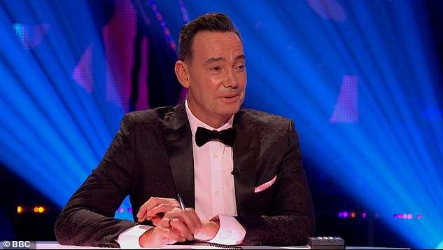 Harsh: Craig Revel Horwood then added: 'Your frame was very loose for me darling, you were in and out, halfway through we lost your neck entirely'