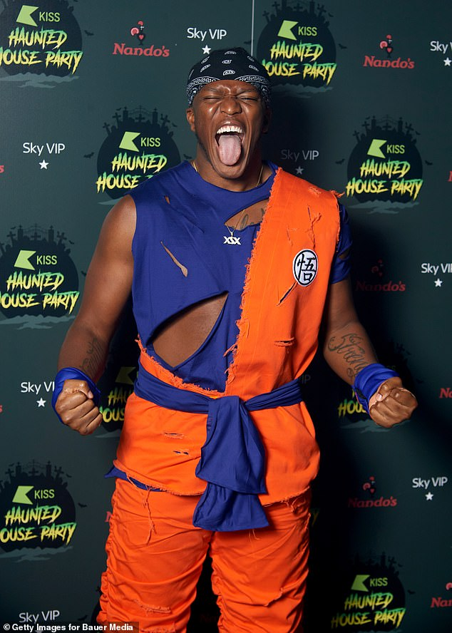 That's how you do it: Other stars in attendance included YouTube star KSI, 27, who appeared to be dressed as Goku from animated series Dragon Ball Z.