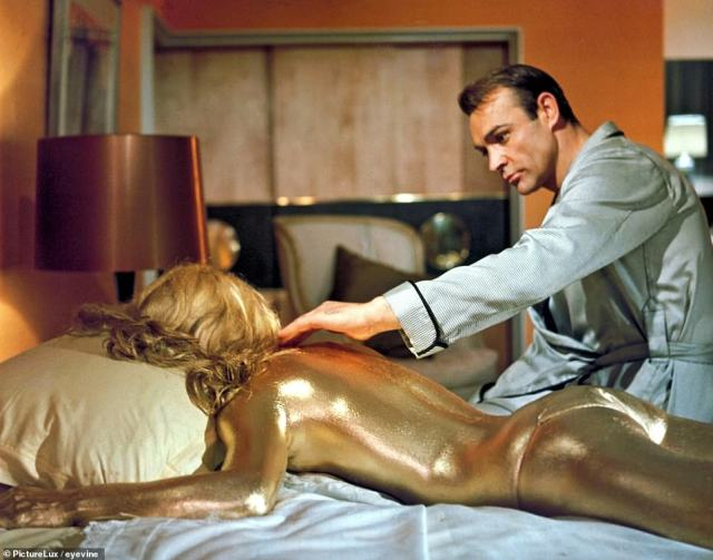 Connery finds Jill Masterson (Shirley Eaton) dead in 1964's Goldfinger – one of cinema's most iconic scenes